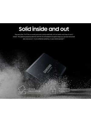 Samsung Portable SSD T5, 2TB, USB3.1 (Gen2) Type-C, Up to 10Gbps, Shock Resistant, 3 Years Warranty