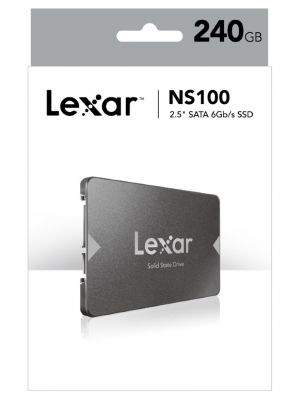 Lexar NS100 240GB 2.5' SATA SSD - 520MB/s Read Shock/Vibration Resistant DASH Software 3yr Warr.