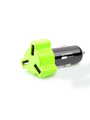 mbeat® 4.8A 24W Triple-port Rapid Green Car Charger