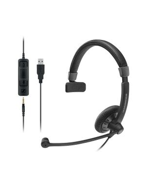 Sennheiser Monaural corded headset with 3.5 mm four-pole jack, plus detachable USB cable with call control. Noise cancel mic, Wideband sound
