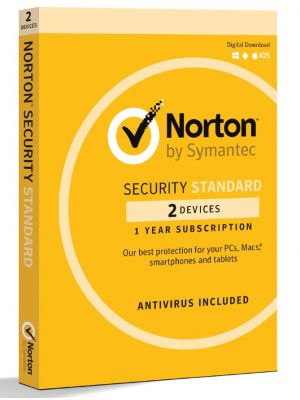 Norton Security Standard 2 Device Retail Box - Compatible with PC, MAC, Android, iOS 1 Year
