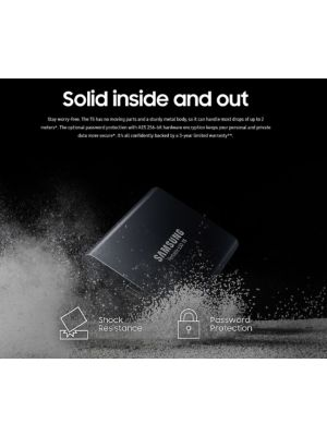 Samsung Portable SSD T5, 1TB, USB3.1 (Gen2) Type-C, Up to 10Gbps, Shock Resistant, 3 Years Warranty